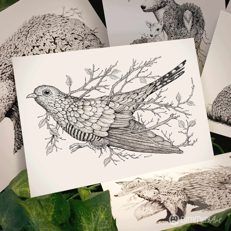 Leaf Cuckoo Postcard - Brett Miley Art