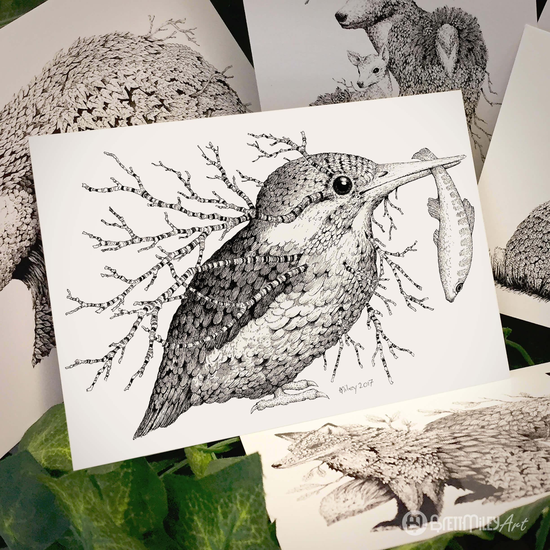 Leaf Kingfisher Postcard - Brett Miley Art