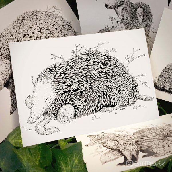 Leaf Mole Postcard - Brett Miley Art