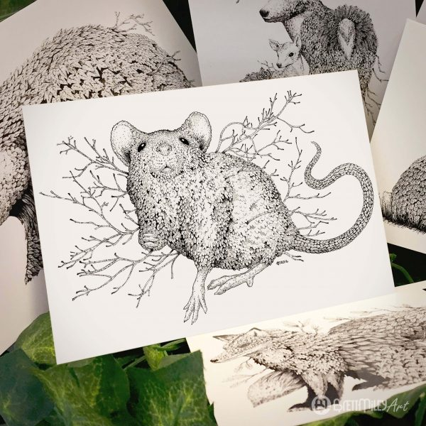 Leaf Mouse Postcard - Brett Miley Art
