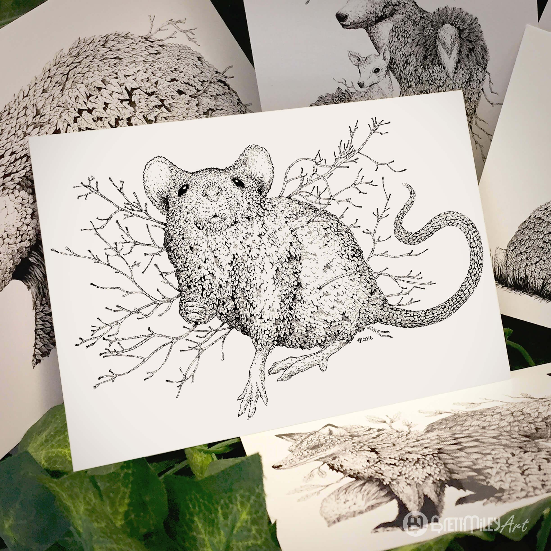 Leaf Mouse Postcard - Brett Miley Art