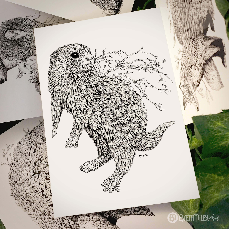 Leaf Otter Postcard - Brett Miley Art