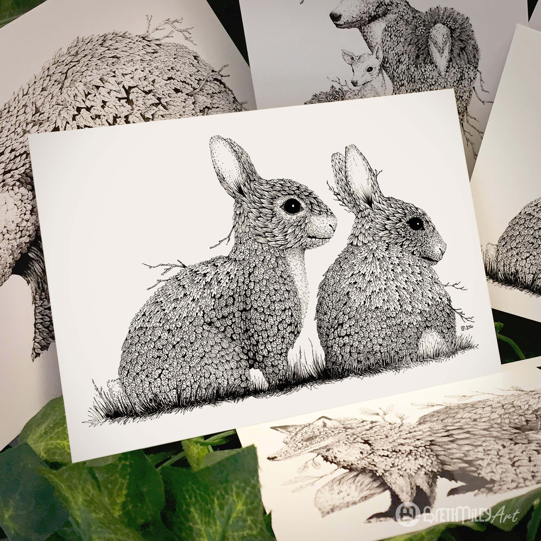 Leaf Rabbits Postcard - Brett Miley Art