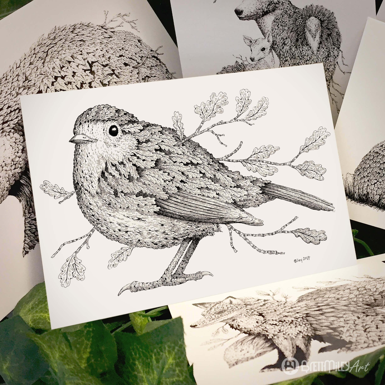 Leaf Robin Postcard - Brett Miley Art