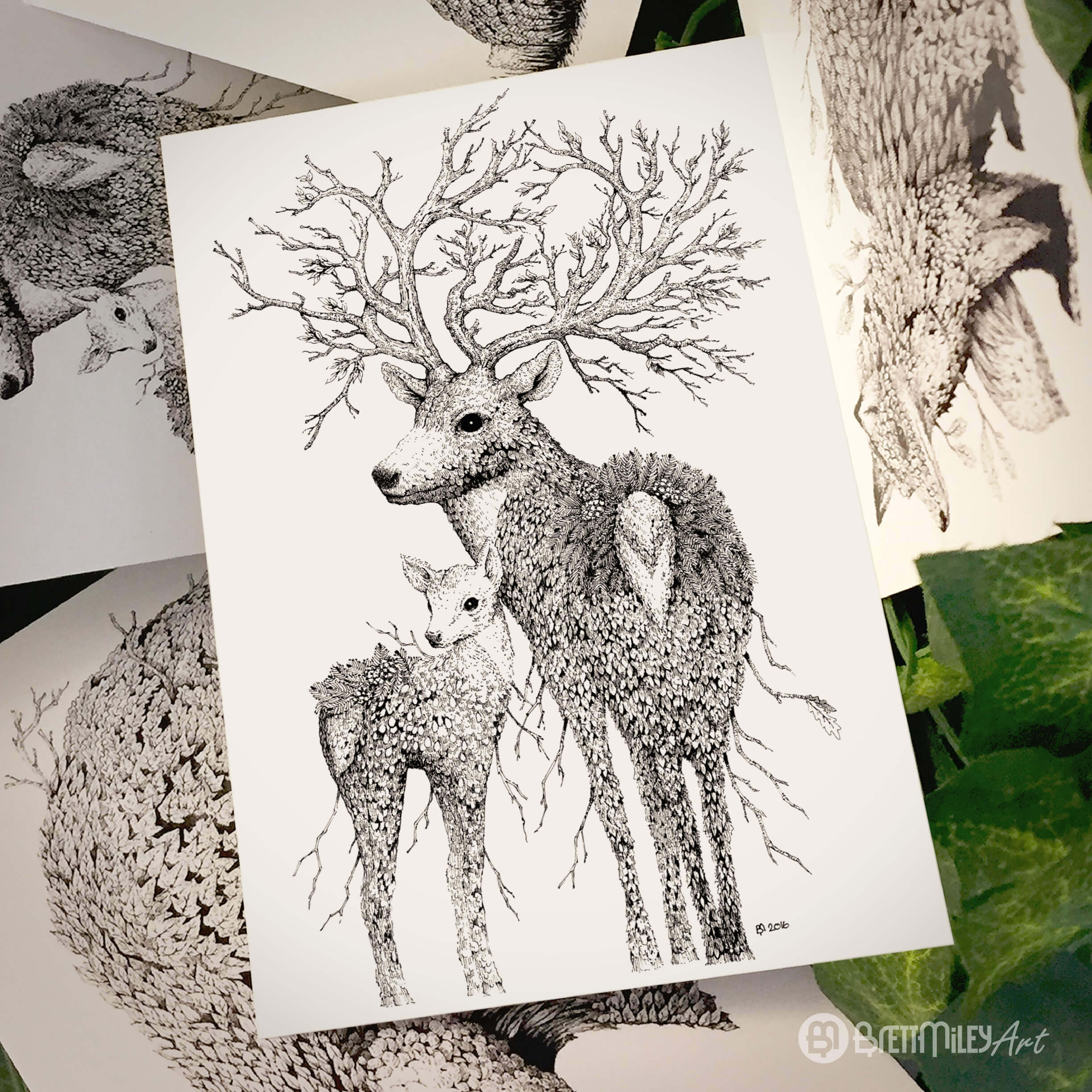 Leaf Stag Deer Postcard - Brett Miley Art