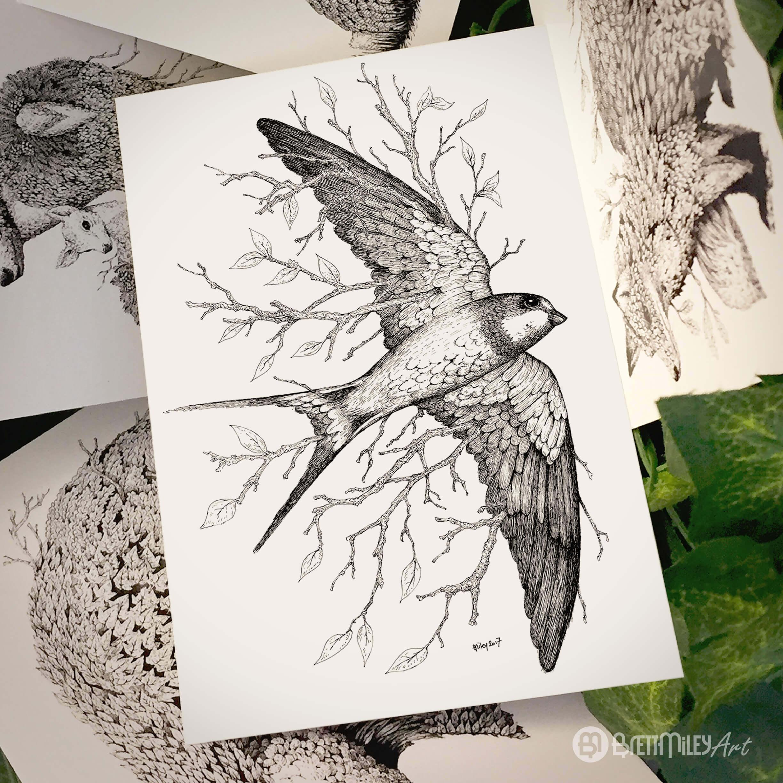 Leaf Swallow Postcard - Brett Miley Art