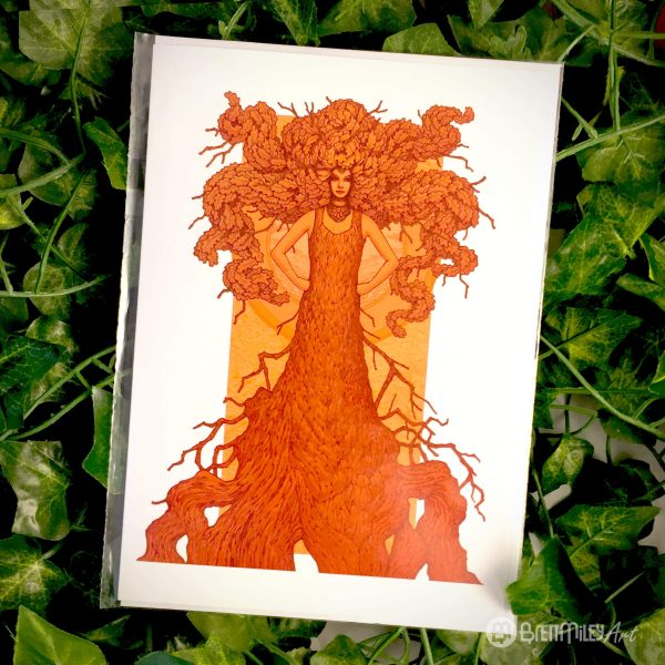 Robur the Oak of Strength and Wisdom Greetings Card - Brett Miley Art