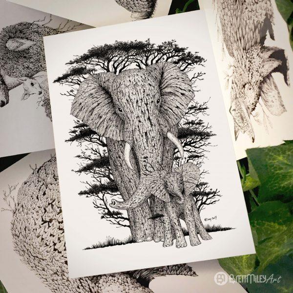 Tree Elephants Postcard - Brett Miley Art