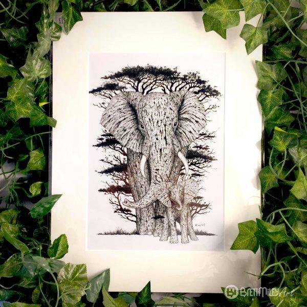 Tree Elephants Print - Brett Miley Art