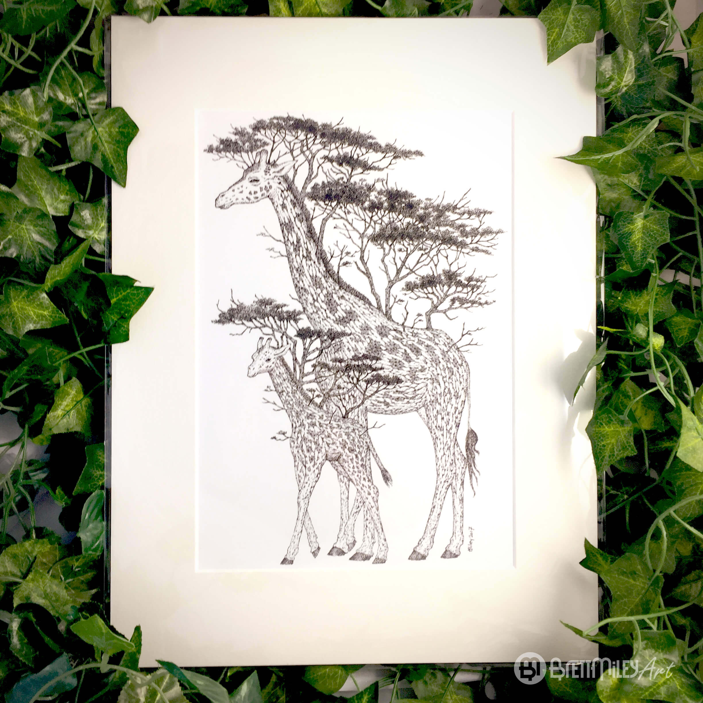Tree Giraffes Print - Brett Miley Art