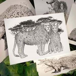 Tree Lions Postcard - Brett Miley Art