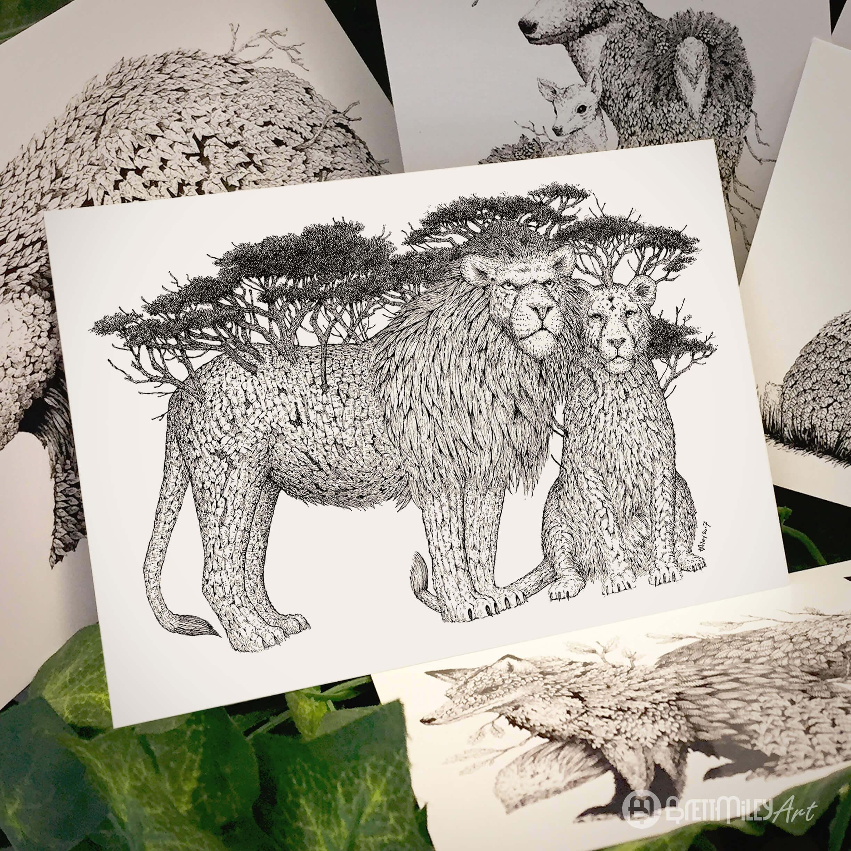 Tree Lions Postcard - Brett Miley Art