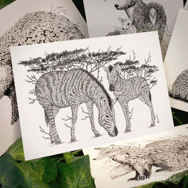 Tree Zebras Postcard - Brett Miley Art