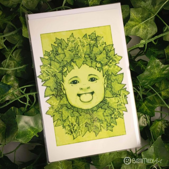 Green Ivy Baby Greetings Cards - Brett Miley Art