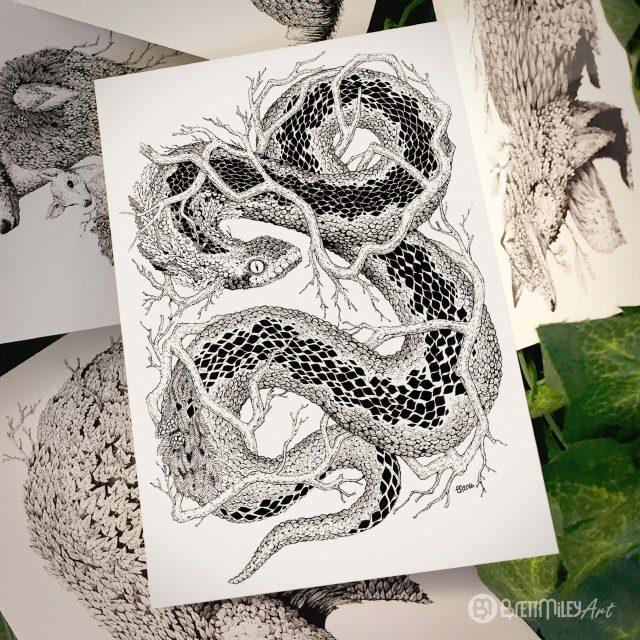 Leaf Adder Postcard - Brett Miley Art