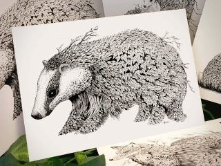 Leaf Badger Postcard - Brett Miley Art