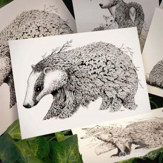 Leaf Badger Postcard - Brett Miley Art