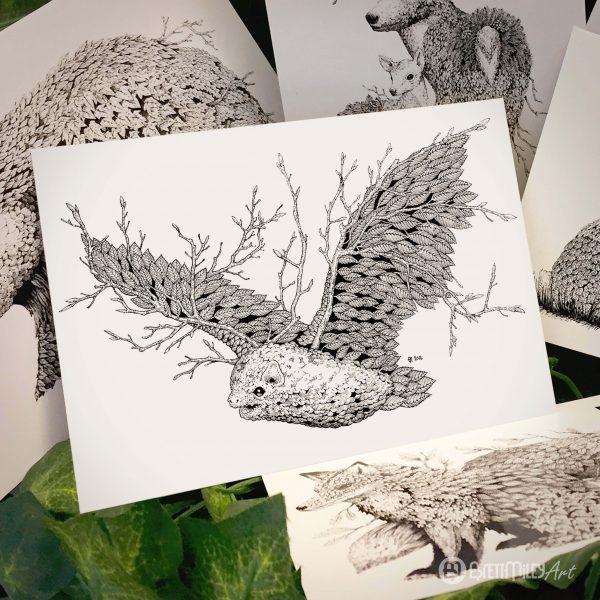 Leaf Bat Postcard - Brett Miley Art