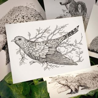 Leaf Cuckoo Postcard - Brett Miley Art