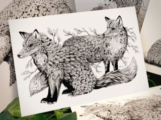 Leaf Foxes Postcard - Brett Miley Art