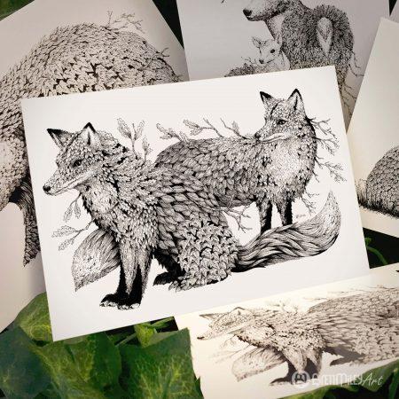 Leaf Foxes Postcard - Brett Miley Art