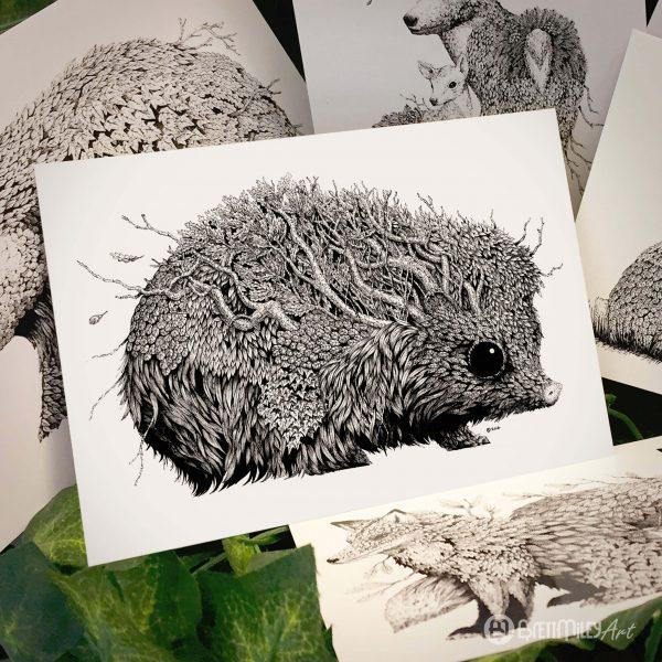 Leaf Hedgehog Postcard - Brett Miley Art