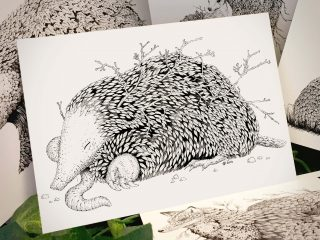 Leaf Mole Postcard - Brett Miley Art