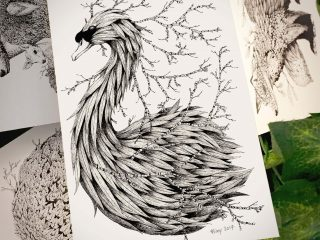 Leaf Mute Swan Postcard - Brett Miley Art