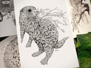 Leaf Otter Postcard - Brett Miley Art