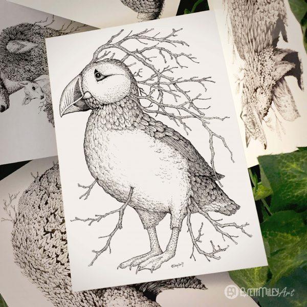 Leaf Puffin Postcard - Brett Miley Art
