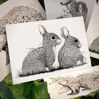 Leaf Rabbits Postcard - Brett Miley Art