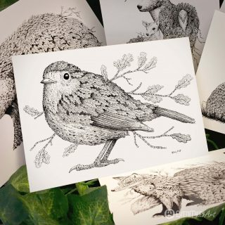 Leaf Robin Postcard - Brett Miley Art