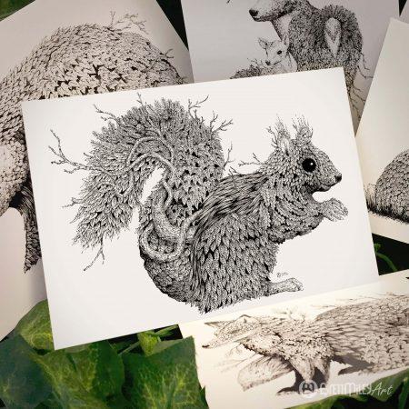 Leaf Squirrel Postcard - Brett Miley Art