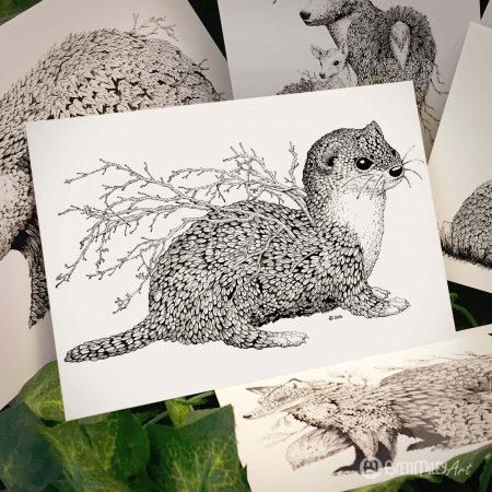 Leaf Weasel Postcard - Brett Miley Art