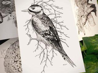 Leaf Woodpecker Postcard - Brett Miley Art