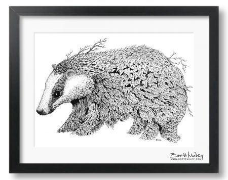 Leaf Badger Framed Original - by Brett Miley Art