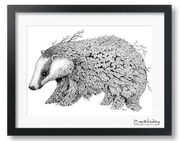 Leaf Badger Framed Original - by Brett Miley Art