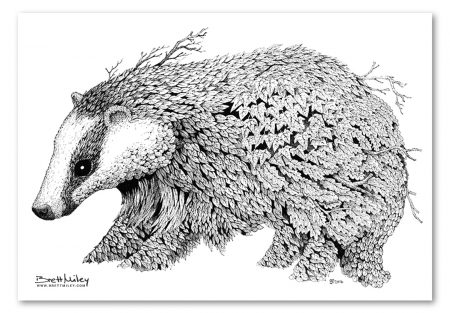 Leaf Badger Print - Brett Miley Art
