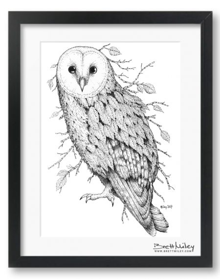 Leaf Barn Owl Framed Original - by Brett Miley Art