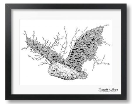Leaf Bat Framed Original - by Brett Miley Art
