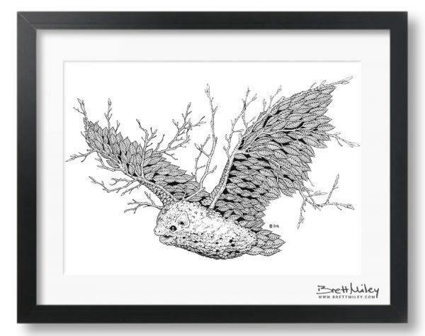 Leaf Bat Framed Original - by Brett Miley Art