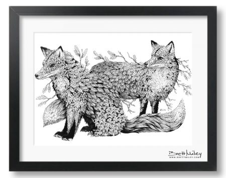 Leaf Foxes Framed Original - by Brett Miley Art