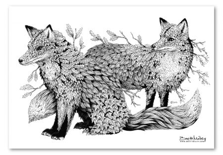Leaf Foxes Print - Brett Miley Art
