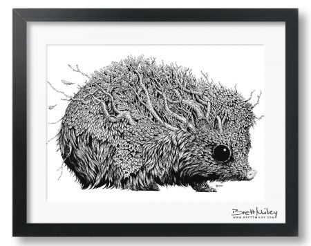 Leaf Hedgehog Framed Original - By Brett Miley Art