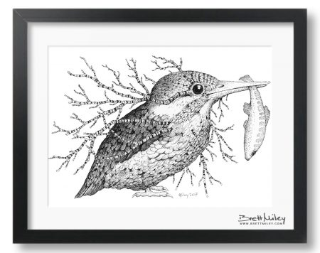 Leaf Kingfisher Framed Original - By Brett Miley Art