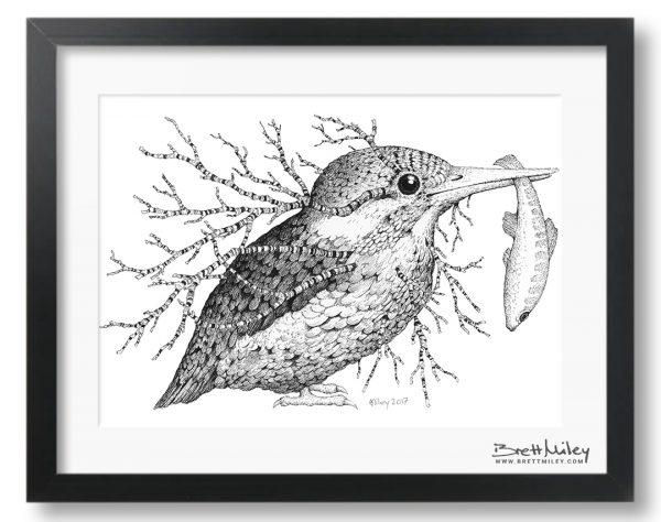 Leaf Kingfisher Framed Original - By Brett Miley Art