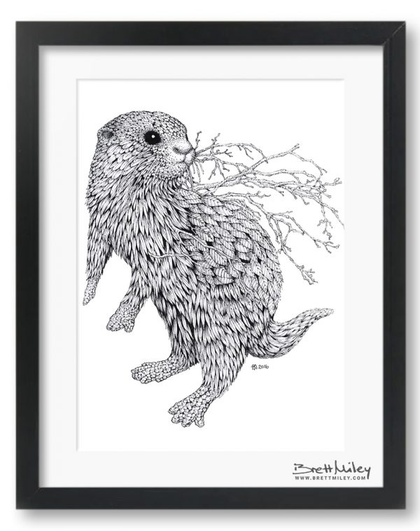 Leaf Otter Framed Original - By Brett Miley Art