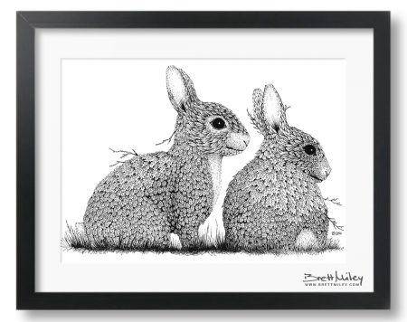 Leaf Rabbits Framed Original - by Brett Miley Art