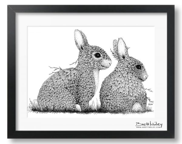 Leaf Rabbits Framed Original - by Brett Miley Art