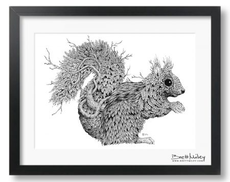 Leaf Squirrel Framed Original - by Brett Miley Art